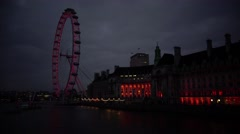 ULTRA HD 4K real time shot,London Eye on Thames river in London, UK Stock Footage