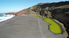 Aerial video footage of the Green Lagoon at El Golfo, Lanzarote Stock Footage