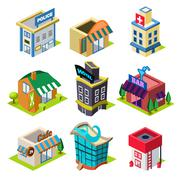 Set of the Isometric City Buildings and Shops - stock illustration