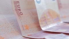 European monetary union paper banknotes arranged slow tilt 4K 2160p UltraHD f Stock Footage
