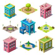 Set of the Isometric City Buildings and Shops Stock Illustration