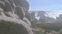 Glistening Granite Rocks Hazy Sunset Capo Testa Sardinia Italy - 29,97FPS NTSC - stock footage