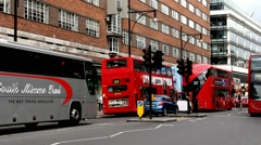 Tourists and locals in the London street at the city centre Stock Footage