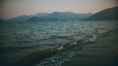 Nautical landscape with yacht in retro style Stock Footage