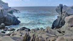 Granite Coastal Rock Shore Capo Testa Sardinia Italy - 25FPS PAL Stock Footage