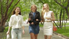 Three beautiful women walking through the park in summer Stock Footage