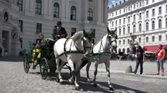 ULTRA HD 4K  Pan right follow chariot horse carriage romantic couple Vienna old  Stock Footage