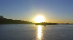 The picturesque sunset (sunrise) above land, river, embankment Stock Footage