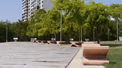 VIEW OF CONDADO LAGOON PARK shoreline benches - Puerto Rico Stock Footage