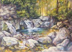 Oil on canvas of a mountain landscape Stock Photos