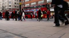 Tourists and locals in the London street  at the city centre near Marble Arch Stock Footage