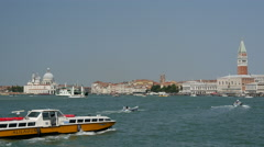 Bacino S. Marco canal with boats and ferry in Venice Italy Stock Footage