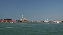 Bacino S. Marco canal with boats in Venice Italy Stock Footage