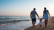 Stock Video Footage of Family at sea beach