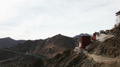 View of Namgyal Tso Monastery and Shanti Stupa Stock Footage