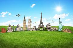 Illustration of famous monument on green grass Stock Illustration