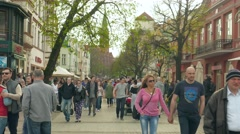 Tourists in Sopot, Poland Stock Footage