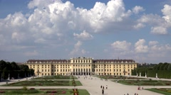 ULTRA HD 4K Timelapse tourist people visit Schonbrunn Palace Vienna emblem day   Stock Footage