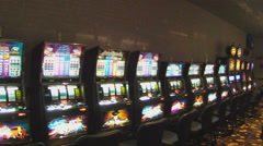 Long Row Of Slot Machines In Casino Pan Stock Footage