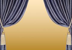 Grey blue curtains with supports and tassels over golden gradient Stock Photos