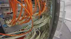 Network Switch LAN and optical fiber LWL - stock footage