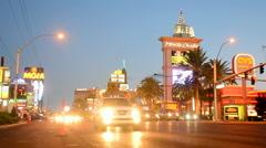 Monte Carlo hotel, Night car traffic on Las Vegas Strip. Stock Footage