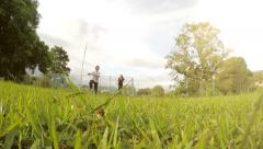 Child Mother Running Park Stock Footage