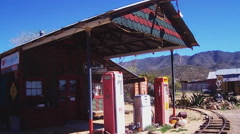 Old Time Gas Station In Old West Mining Town- Chloride AZ Stock Footage