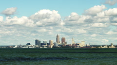 Cleveland Ohio from Lake Erie Timelapse Stock Footage