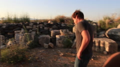 Young Man Viewing Ancient Synagogue, Mt. Arbel near the Sea of Galilee Stock Footage