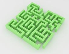 Green maze, complex way to find exit. Stock Illustration