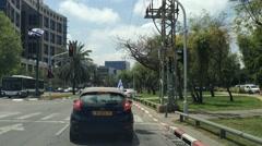 Driving in Tel Aviv, Raul Valenberg Street Stock Footage