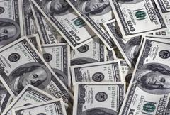 Heap of dollars of the USA - stock photo