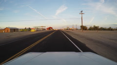 Vehicle Viewpoint Driving In Small Town On California-Arizona Border Stock Footage