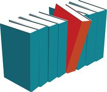 Books standing in a row one out red differently Stock Illustration