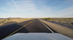 Stock Video Footage of Viewpoint RV Driving Long And Straight Mojave Desert Highway
