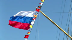 Bright flags with big russian flag against blue sky Stock Footage