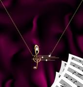 chain with treble clef and notes - stock illustration