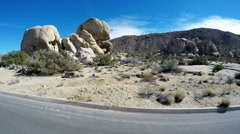 Driving In Hiking Area Parking Lot- Joshua Tree National Park Stock Footage
