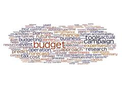Word cloud of budget and its related words - stock illustration