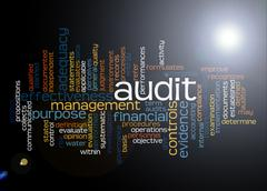 Word cloud of audit and its related words - stock illustration