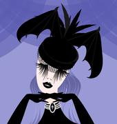 Stock Illustration of abstract lady with gothic hat