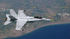 Stock Video Footage of F-18 Fighter Jet Flying Over Eastern Europe