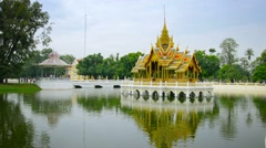 Thailand, Ayuthaya, Bang Pa-In Palace - decorative pond Stock Footage