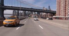 Driving on the FDR Drive in downtown Manhattan - stock footage