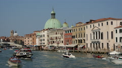 Busy with boats at the canal grande in Venice Italy Stock Footage