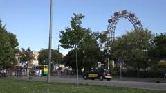 ULTRA HD 4K Traffic street Prater amusement park Giant ferris wheel Vienna icon  Stock Footage