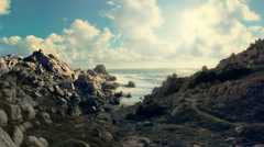 Mistral Wind Formed Granite Coastline Capo Testa Sardinia Italy - 29,97FPS NTSC Stock Footage