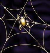 jewel spider and web - stock illustration