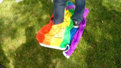 Preacher STOMPS gay pride flag  Arkistovideo